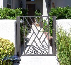 Modern Crisscross Wrought Iron Courtyard Entry Gate