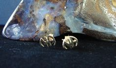 "Narcotics Anonymous 1/4"" NA Logo Initials Gold Plated Post Stud Earrings 397"