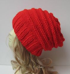 Womens Slouchy Knit Hat . Slouchy Beanie . Red by selmahandcraft