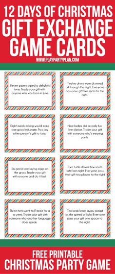 love this fun twist on traditional gift exchange games free printable cards inspired by the 12 days of christmas to use for swapping gift exchange gifts