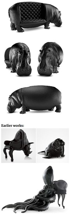 Maximo Riera, the creator behind the amazing Animal Chairs collection, has come up with a new piece for his easily recognizable collection – the Hippopotamus Chair. If you guessed that it's a chair shaped like a hippopotamus, you were right!