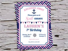 Anchors Away - Sailebrate - Nautical First Birthday Invitation - Red White and Blue - Pink and Navy - on Etsy, $14.00