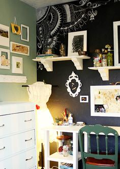 Chalk board wall. This would stop me from constantly wanting to re-paint designs!