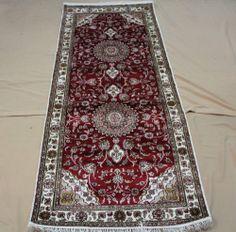 "2'6""x6' Hand-knotted 450 kpsi Silk Persian Tabriz Runner Rug B804"
