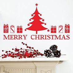 MLM Merry Christmas Tree Christmas Gift Removable Vinyl Wall Stickers Murals Home Decor for Living Room Shop Window *** For more information, visit image link.