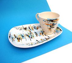 Vintage Teacup Retro Abstract Espresso Set by OceansideCastle, $28.99