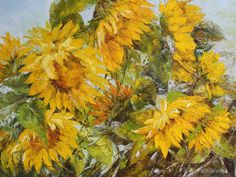 """BLOOMING SUNFLOWERS"" - D.Virbickien? original modern painting, oil on canvas Blooming Sunflower, Sunflowers, Flower Art, Oil On Canvas, Art Pieces, My Arts, The Originals, Modern, Painting"