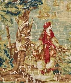 "Covington Bosporus Antique Red Fabric by covington. $20.49. Width: 54"". DRY CLEAN ONLY. Covington Bosporus 317 Billard is a wonderful Renaissance scene toile with the appearance of a worn oil painting of people in a lake like setting with their dogs and a view of a prosperous harbor in the distance. This particular pattern is shown in Taupe, Khaki, Cream, Cranberry, Walnut, Celery, Olive and Sky Blue. This fabric is suitable for window treatments, cornice boards, pillows, beddin..."