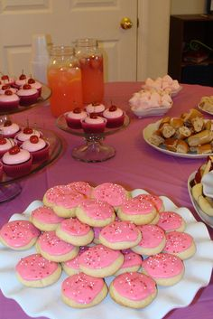 Pink Party! Pink cupcakes, pink marshmallows, bagels with strawberry cream cheese, pink fruit dip and pink lemonade!