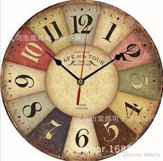 Vintage British France styles Wooden Retro Colourful Country Tuscan Style Wood Wall Clocks DIY bracket clock