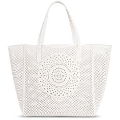 Women's Perforated Medallion Tote Faux Leather Handbag White ($40) ❤ liked on Polyvore featuring bags, handbags, tote bags, man bag, tote purses, purse tote, handbag tote and perforated tote