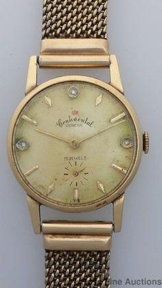 Vintage 14k Gold Diamond Swiss Continental 17J Mens Wrist Watch