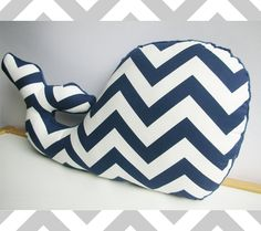16 Chic Chevron Nursery Ideas from DisneyBaby.com and available on Etsy! Nautical Navy Chevron Whale Pillow