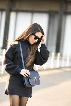 Textured Shift :: Shoulder cutouts & Navy details :: Outfit :: Dress :: Sashion Shoes :: Miu Miu Bag :: Celine Accessories :: Celine sunglasses, Brandy Pham ring, Falke tights Published: January 4, 2016