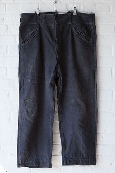 1930's black linen Villette work pants