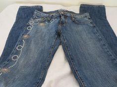 KIPPYS  JEANS  CRYSTAL EMBELLISHED  Studded 28 x 36 Straight Leg Pink & Blue #Kippys #StraightLeg