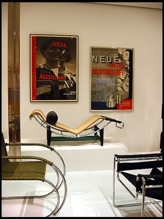 Mies Van der Rohe cantelever chair, Le Corbusier chaise, and Wassily chair... I especially love the chaise