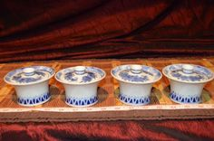 Set of 4 Blue and White Floral Porcelain Lidded Tea Cup Or Sake Cup #Unknown