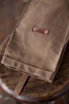 No. 215 Lunch Tote in Dark Khaki Waxed Canvas by ArtifactBags