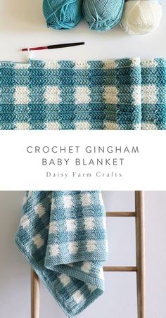 Free Pattern - Crochet Gingham Baby Blanket I get really excited when I can find shades of the same color for my gingham blankets. I was thrilled… Crochet Blanket Patterns, Baby Blanket Crochet, Baby Patterns, Crochet Stitches, Knitting Patterns, Crochet Afghans, Crochet Blankets, Dishcloth Crochet, Baby Blanket Knitting Pattern Free