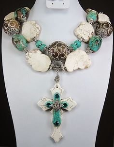Turquoise and White Cross!