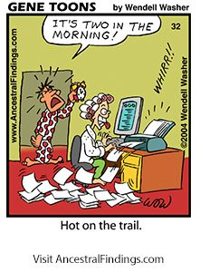 Hot On The Genealogy Trail! (Genetoons Cartoon #32) - http://www.ancestralfindings.com/genetoons