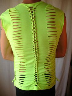 mens or womens shredded,braided tiedyed  tshirt, tank top, shredded tshirt. neon yellow 80s. mens small/med. womens med/large