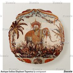 Antique Indian Elephant Tapestry Round Pillow