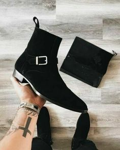 Mens Suede Ankle Boots, Black Ankle Boots, Leather Heels, Suede Leather, Black Suede, Soft Leather, Casual Boots, Men Casual, Custom Design Shoes