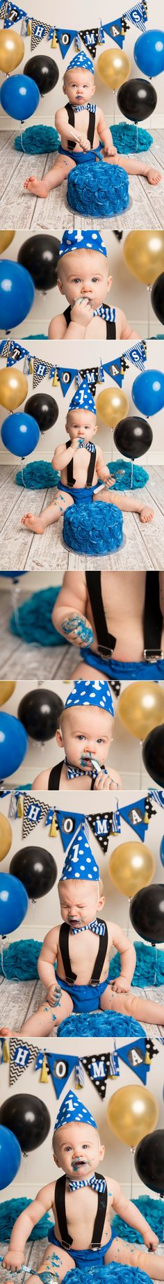 Thomas celebrates his first birthday with a Blue, Black and Gold Cake Smash! | Holly Schaeffer Photography | Cake Smash Photographer