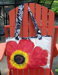 Hand-painted & embroidered poppy tote bag $75.95 Painted Canvas Bags, Diy Canvas, Canvas Tote Bags, Tie Dye Painting, Fabric Painting, Handmade Handbags, Handmade Bags, Spring Painting, Art Bag
