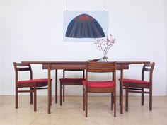 Mid Century Danish Extending Dining Table & Set of 4 Chairs / Designer / Heals in Antiques, Antique Furniture, Tables