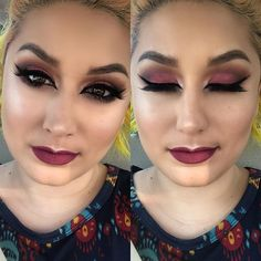 Cranberry smokey eye and kitten liner. Can it just be fall already? #iftheresawill #theresaway #cranberry #smokeyeye #kittenliner #eyeliner #wingedliner #berrylips #browneyes #browneyedgirl #mua #ncmua #makeup #abh #anastasiabeverlyhills #tarte #morphe #jaclynhill #wetnwild #inglot #houseoflashes