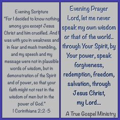 Evening Scripture& Prayer #atruegospelministry