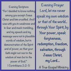 Evening Scripture& Prayer #atruegospelministry