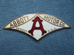 ABBOTT Detroit Motor radiator badge emblem vintage Car Badges, Car Logos, Auto Logos, Automobile Companies, Automobile Logos, Logo Autos, Company Badge, Detroit Motors, Vintage Gas Pumps