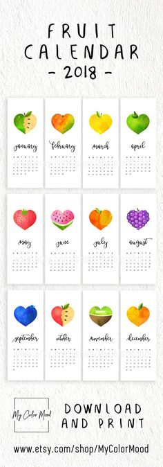 """Colorful printable monthly calendar 2018 with bright """"fruit hearts"""" graphics and modern typography. 12 months included (January 2018 - December 2018). A cute decor accent for your kitchen or home office. Yummy!"""