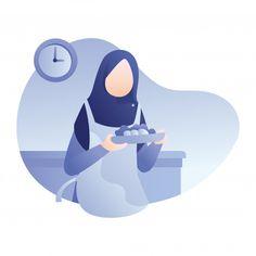 Ramadan illustration with muslim woman p. Flat Design Illustration, Illustration Art, Poster Ramadhan, Love Cartoon Couple, Islamic Cartoon, Anime Muslim, Hijab Cartoon, Kids Schedule, Illustrations