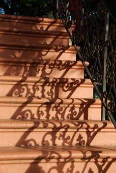 Stairway and wrought iron in the morning Savannah sun…