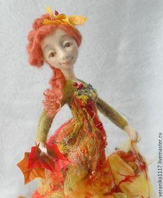 """Купить Войлочная кукла """"Осенняя..."""" - желтый, кукла ручной работы, интерьерная кукла"""