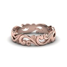Filigree Gold Womens Band Womens Wedding Bands in 14K Rose Gold exclusively styled by Fascinating Diamonds;$ 680