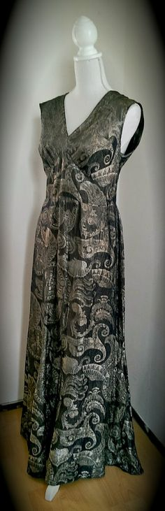 1930's brocade lamé evening gown