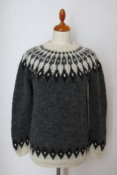"Handmade Icelandic wool sweater or ""Lopapeysa"" as we call it, knitted in Iceland. Icelandic Sweaters, Wool Sweaters, Crochet Sweaters, Sweater Making, 10 Days, Custom Made, Knitting Patterns, Knit Crochet, Pullover"