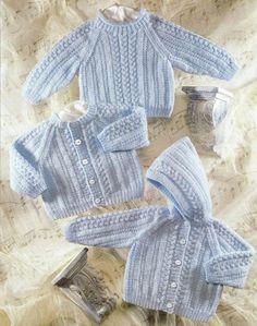 Baby Eyelet Textured Cardigans & Sweater Round/V 16 - DK Knitting Pattern Baby Knitting Patterns, Baby Cardigan Knitting Pattern, Knitting For Kids, Double Knitting, Baby Patterns, Free Knitting, Cardigan Bebe, Sweater Cardigan, Hooded Cardigan
