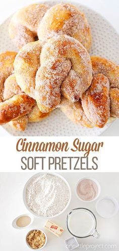 These cinnamon sugar soft pretzels are so delicious and they're so quick and simple to make! They make a perfect game day snack, an easy dessert recipe, or a fun sweet treat! Such a delicious snack idea! desserts for recipes delicious recipes Yummy Snacks, Delicious Desserts, Yummy Food, Tasty, Jello Desserts, Vegetarian Desserts, Baking Desserts, Quick Dessert Recipes, Sweet Recipes