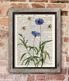 Bees Cornflower print Dictionary art print Old by RetroSalonPrint