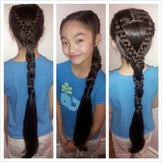 Very long simple ponytail with 2 crown French braids wrapped.