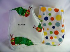 Contoured Burp Cloth in Very Hungry Caterpillar  by PKStuff, $7.50