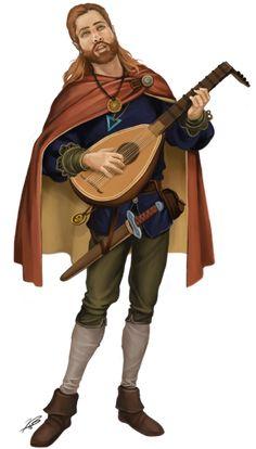 m Half Elf Bard Light Armor Cloak Lute Shortsword male lg High Fantasy, Fantasy Rpg, Medieval Fantasy, Fantasy Artwork, Fantasy Character Design, Character Concept, Character Inspiration, Character Art, Dungeons And Dragons Characters