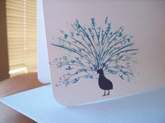 Beautiful Personalized / Monogrammed Blue Peacock Stationery Set of 10 note cards w/ envelopes. Gift ready.